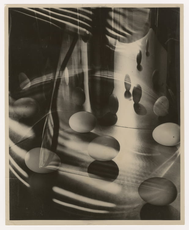 Carlotta Corpron (American, 1901-1988), Eggs Encircled, 1948. Gelatin silver print. Jerry Bywaters Collection, Jerry Bywaters Special Collections, Hamon Arts Library, Southern Methodist University.