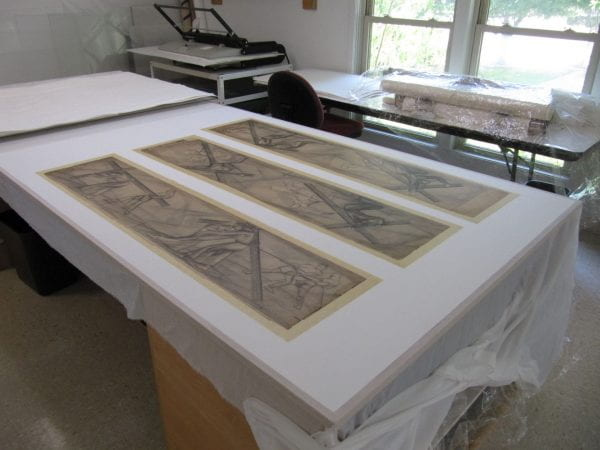 Conservation of drawings for Octavio Medellin's Saint Bernard of Clairvaux Catholic Church murals