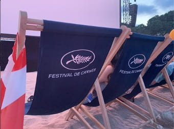 Canne Film Festival logo on chairs