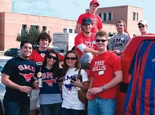 SMU students prepare to cheer on the Mustangs