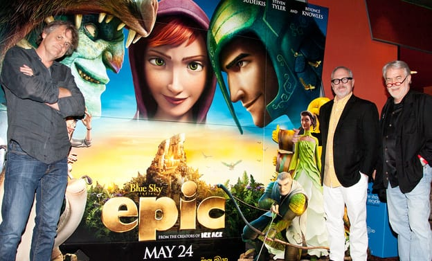 From left, director Chris Wedge, William Joyce '81 and Jim Hart '69 at a preview of their new animated 3D movie, Epic.