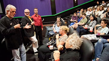 Hart (left) and Joyce with Associate Professor Sean Griffin, chair of film and media arts in Meadows School of the Arts, field questions after the screening.