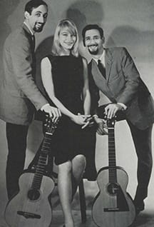 Noel Paul Stookey (left) with Mary Travers and Peter Yarrow from SMU's 1964 Rotunda yearbook.