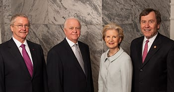 Several SMY Board of Trustees chair provided leadership during the 12-year process of winning the Bush Center for SMU. They are (from Left) Carl Sewell, '66; Gerald J. Ford, '66, '69; and Caren Prothro; and Ruth Altshuler '48 (below). They worked with President R. Gerald Turner (far right) to capture the national treasure for the University.