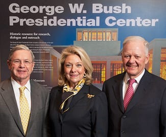 Among alumni guiding the bid for the Bush Presidential Center were (from left) Michael Boone '63, '67, chair-elect of the SMU Board of Trustees; Jeanne L. Phillips '76, trustee; and Ray L. Hunt '65, trustee.