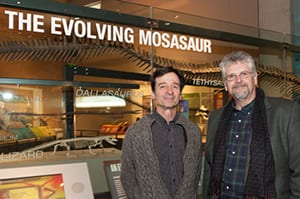 Mosasaur expert Michael Polcyn (right) ws among the SMU scientists who advised Perot Museum Curator of Earth Sciences Anthony Furillo.