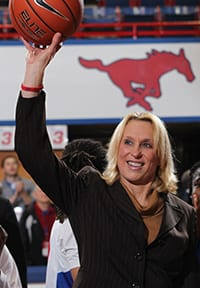 Coach Rhonda Rompola during her 400th career victory Feb. 21 against Tulsa.