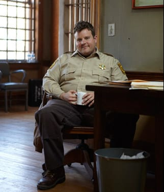Adam Bartley '01 on the set of Longmire. Photo courtesy of A&E