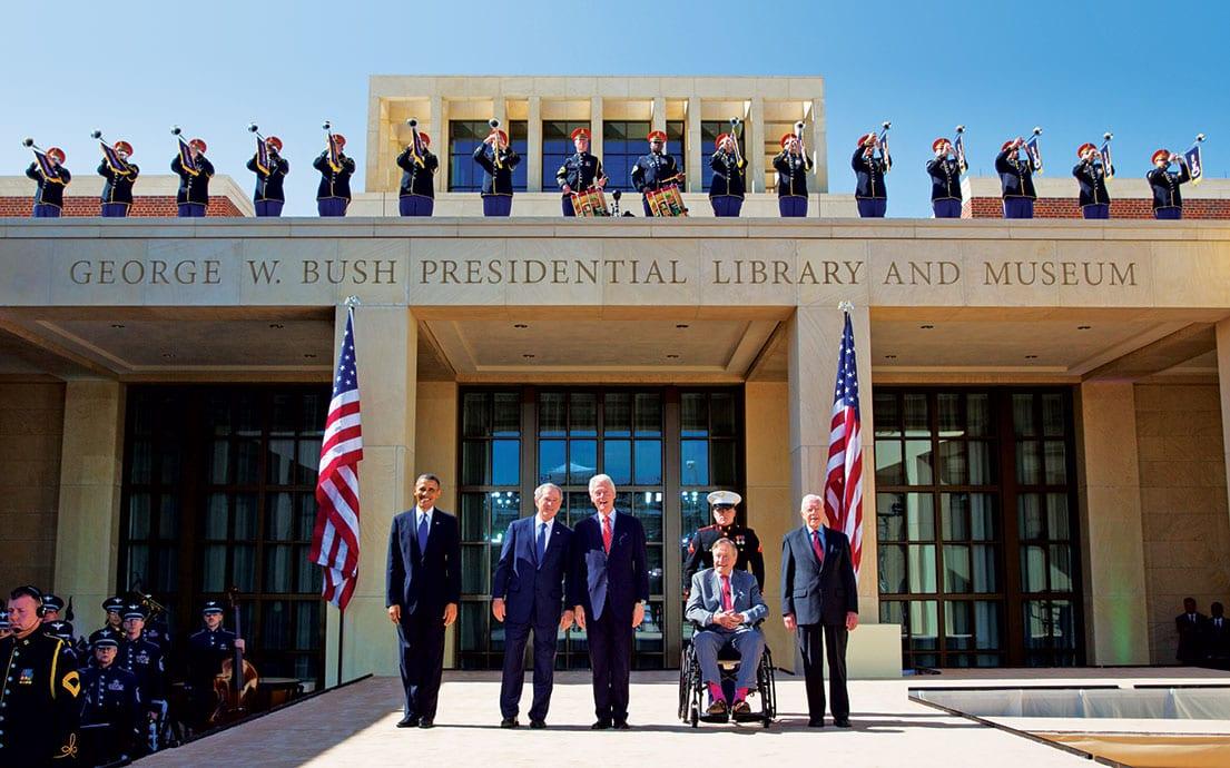 Presidents Obama, Bush, Clinton, G.H.W. Bush and Carter at the dedication of the Bush Library at SMU.