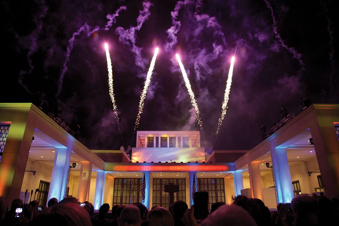 Fireworks conclude the dedication of the Bush Presidential Center on the SMU campus.