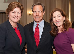 Karen Hughes (left) with the Hon. Joe Straus, Speaker of the House, Texas House of Representatives, and SMU Trustee Jeanne Tower Cox '78, who serves on the board of the Tower Center for Political Studies.