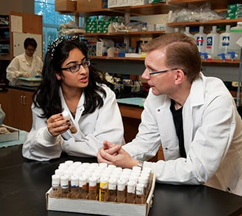 Ria Chhabra discusses her research with biologist Johannes Bauer in his lab.
