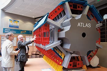 SMU physicist Ryszard Stroynowski (right) explains an aspect of the ATLAS Experiment to James Quick, associate vice president for research at SMU and dean of graduate studies.