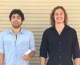 Nezare Chafni '10 (left), holding the CHUI device, and Shaun Moore '10