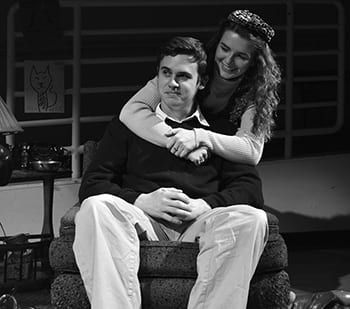 Nicholas Costello (B.F.A. Theatre, '17) as John Polk Richards and Ally Van Deuren (B.F.A. Theatre, '15) as Ashbe in the 40th anniversary of AM I BLUE by Beth Henley, opening on Friday, March 28 in room B150. Photograph by Liz Crowell