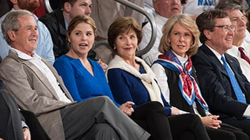 Former President George W. Bush attended several games at Moody Coliseum. With him at the game against Louisville on March 5 are daughter Jenna Bush Hager, former First Lady Laura Bush '68, Gail Turner and SMU President R. Gerald Turner.