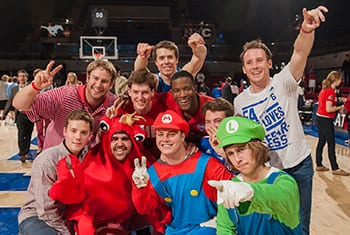 At every home game, SMU Student Body President Ramon Trespalacios donned a lobster suit and led a spirited student section, which often included students dressed up as characters, including the Mario Bros.