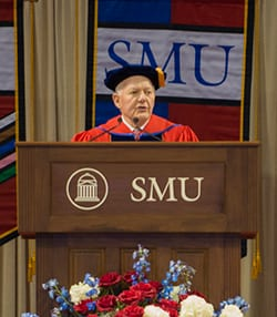 SMU Trustee Ray Hunt '65 was the speaker for the December 21 graduation ceremony in Moody Coliseum.