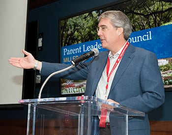 Parent Leadership Council Chair Jim Landon '82 spoke to the group at the Miller Event Center during Founders' Day Weekend.