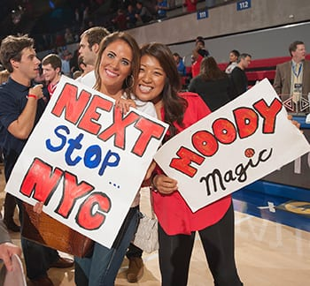 Students flashed signs indicating that SMU was on its way to Madison Square Garden for the NIT Finals after the UCBerkeley game.
