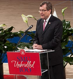 President R. Gerald Turner highlighted a year of SMU achievements at a briefing in Moody Coliseum.