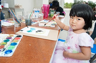 Children explored painting with watercolors at the Meadows Museum.