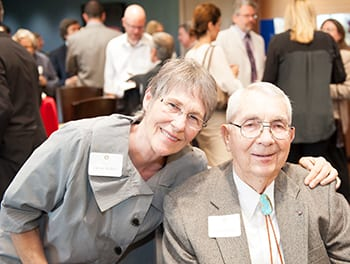 Fred Wendorf, professor emeritus and Henderson-Morrison Chair in Anthropology and wife Christy Bednar attended the reception for faculty at the Miller Event Center in Moody Coliseum.