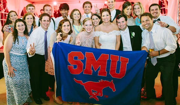 Hana Litterer Golden '14 and Trevor Golden with SMU friends at their wedding May 24.