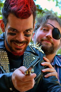 "Joey Folsom (left) portrays prize rooster Odysseus Rex in Upstart Productions' ""Year of the Rooster."""