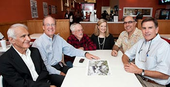 "The late Professor Cecil Smith (third from left) with the ""Engineering Lunch Bunch"" in 2010. His former students are raising money to name an endowed scholarship in his honor in the Lyle School of Engineering."