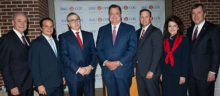 Al Niemi, Dean of the Cox School of Business; Bryan Sheffield, BBA '01 and 2016 SMU Cox Outstanding Young Alumnus; John Santa Maria Otazua, BBA '79 , MBA '81 and 2016 SMU Cox Distinguished Alumnus; Michael Merriman, BBA '79 and 2016 SMU Cox Distinguished Alumnus; Jason Signor, MBA '04 and 2016 SMU Cox Outstanding Young Alumnus; Billie Ida Williamson, BBA '74 and 2016 SMU Cox Distinguished Alumna; and R. Gerald Turner, SMU President.