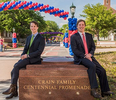 Lawson M. Crain '11 and B. W. Crain IV '05 attended the dedication of the Crain Family Centennial Promenade on Founders' Day. The cousins are grandsons of the late Ann Lacy Crain '41 and represent their family's third generation of SMU alumni.