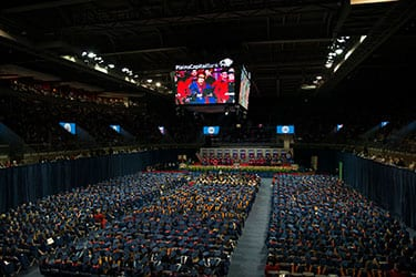 Moody Coliseum was filled with graduates and their families and friends.