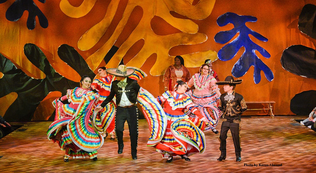 Folklorico dancers performing in The Tempest.