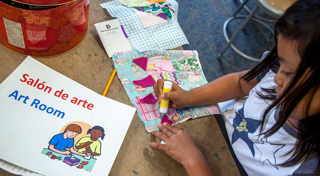 The school's dual-language program immerses students in English and Spanish.
