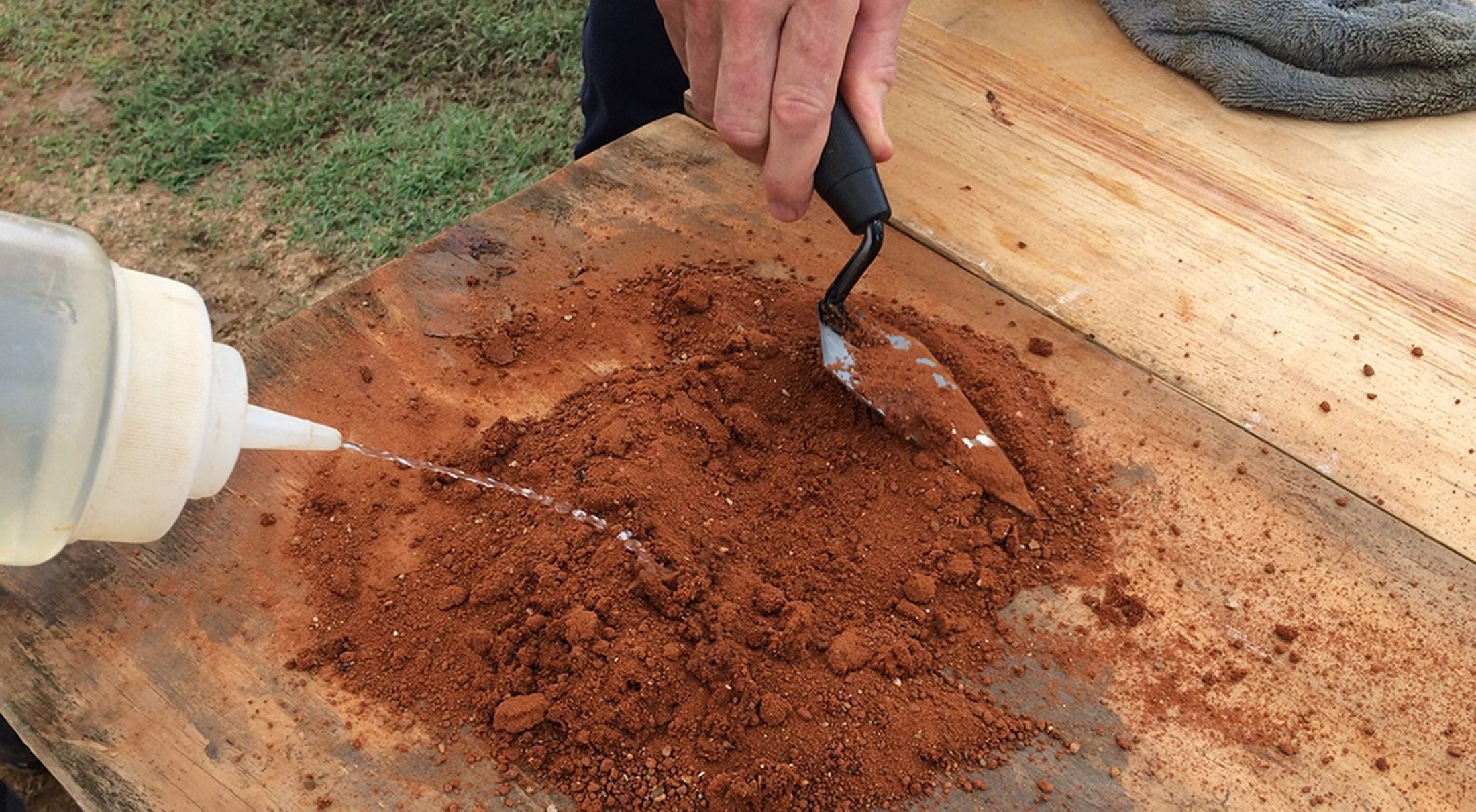 Maggie Inhofe says Rolling the soil into different shapes will give you different information about its properties.