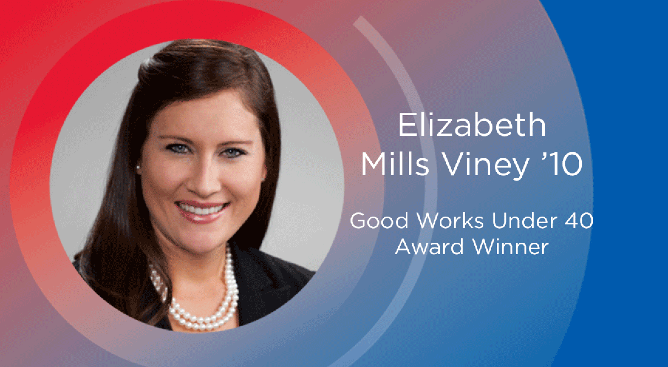 SMU alumna Elizabeth Viney '10 won the Good Works under 40 Award.