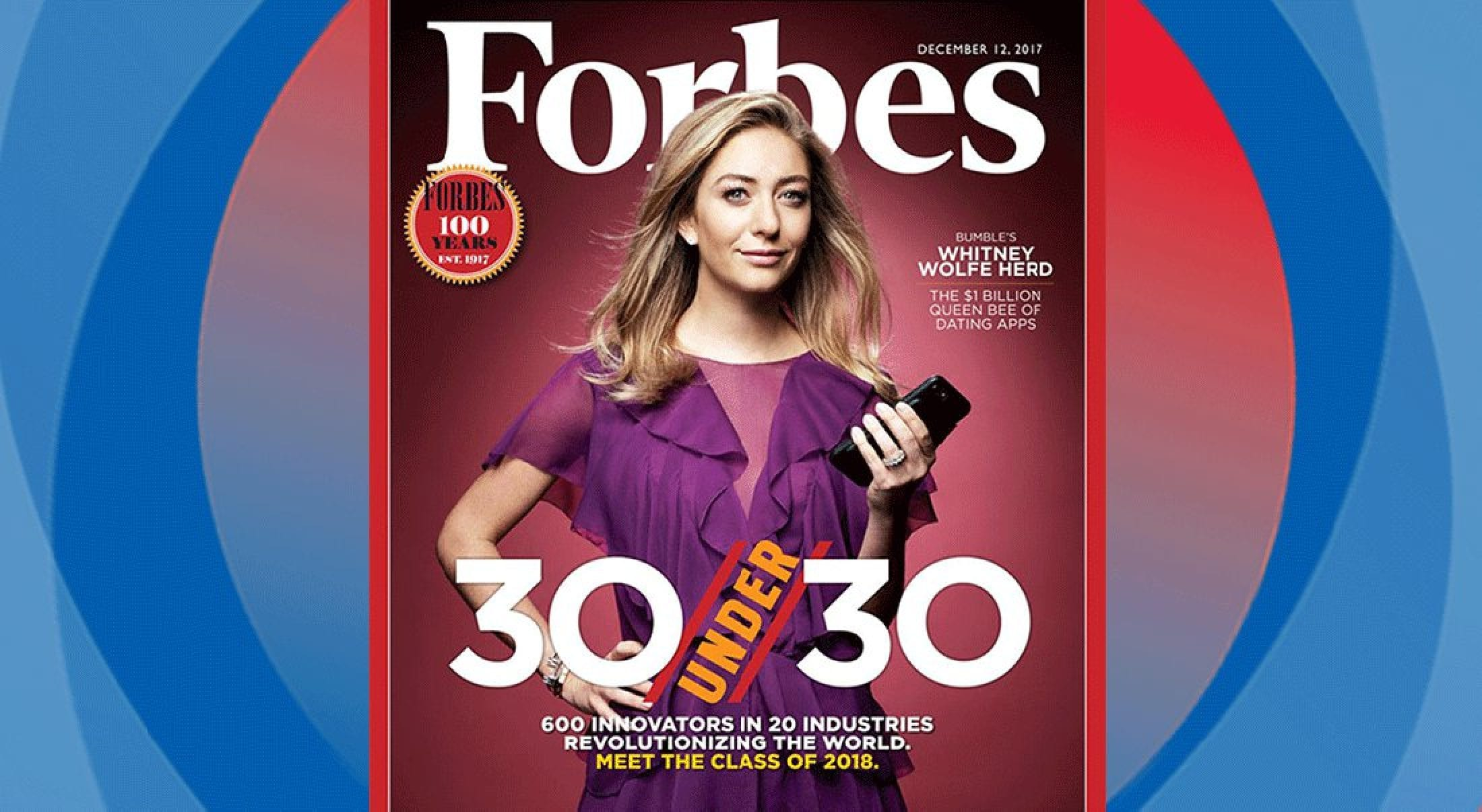 That's SMU alumna Whitney Wolfe Herd on the cover of the Forbes 30 Under 30 issue.