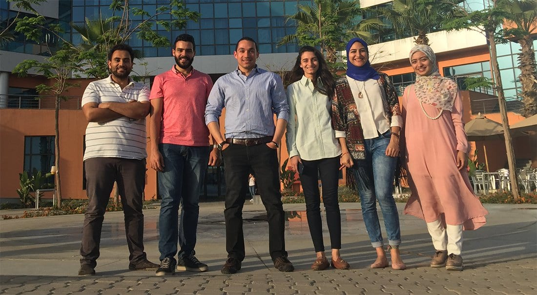 Amir Ali and his students at German University in Cairo, Egypt.