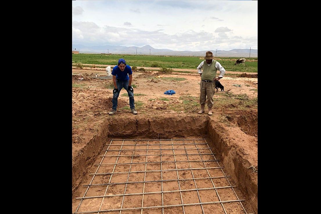 Digging water tower footings.