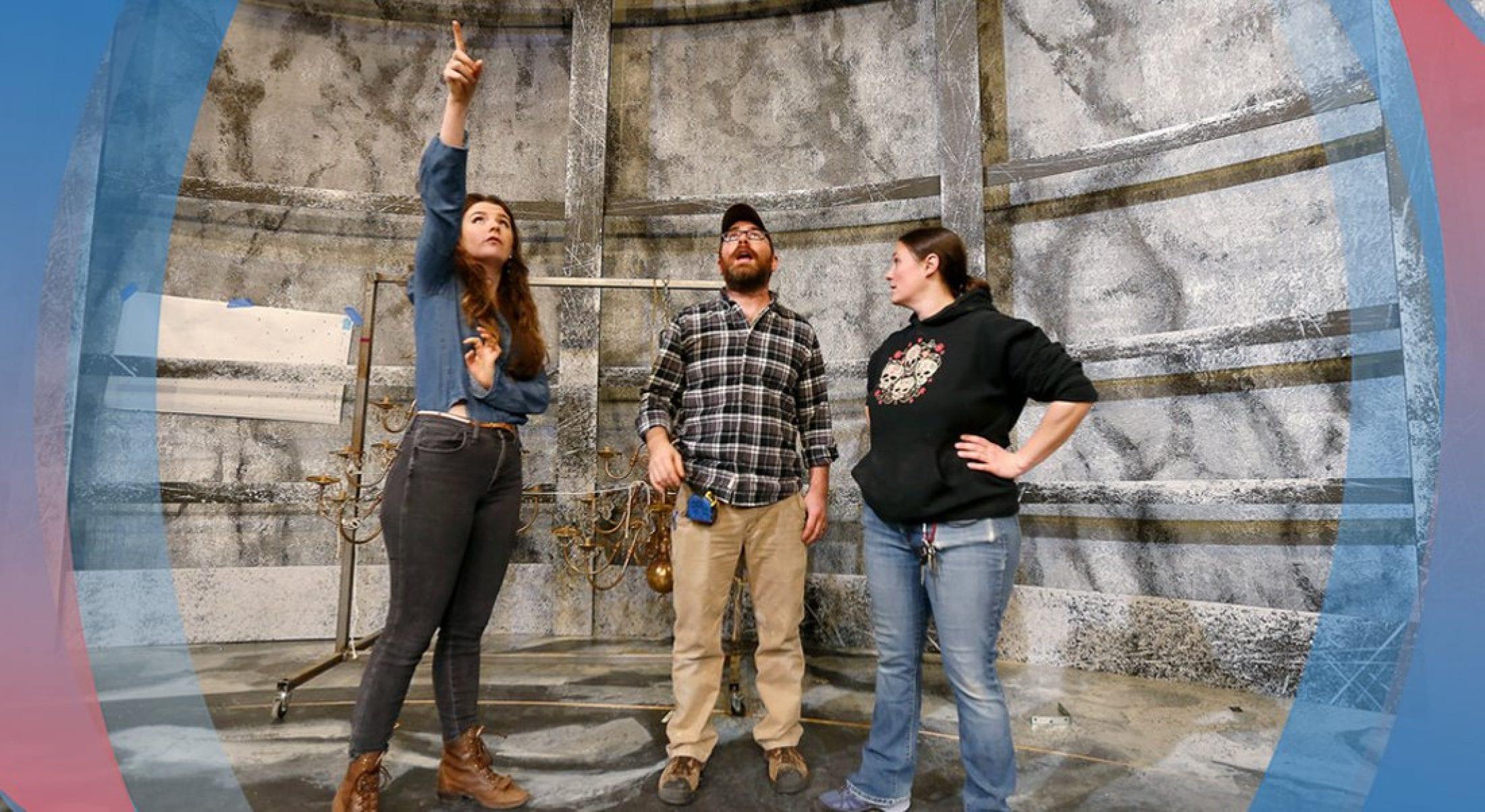 Graduate student Amelia Branksy designed the sets for Frankenstein.