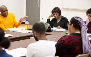 Regina Taylor at a table reading of Magnolia at the Meadows School of the Arts.
