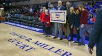 SMU named the Moody Coliseum court in honor of Trustee David B. Miller '72, 73 on December 5.
