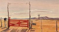 Ranch Gate (1938), oil on canvas by Jerry Bywaters.