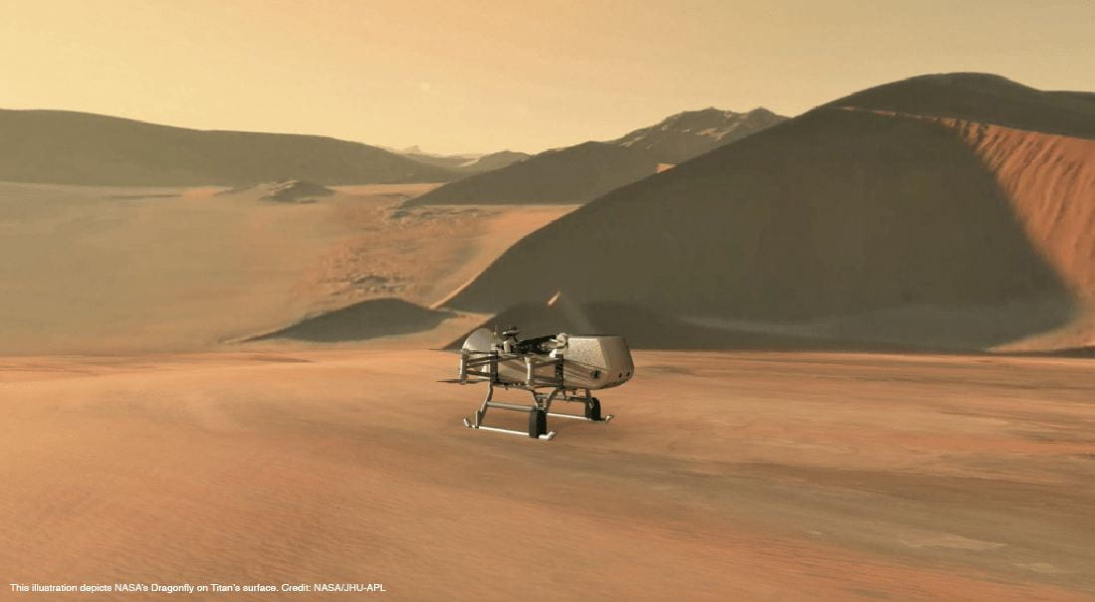 This illustration depicts NASA's Dragonfly on Titan's surface. Credit: NASA-JHU-APL