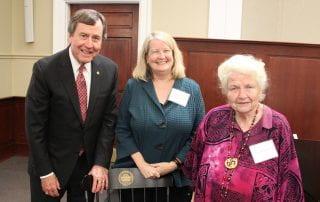 President R. Gerald Turner, Dean Jennifer Collins and Anne Bromberg.