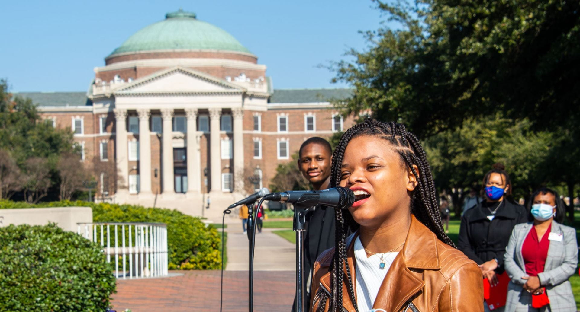 Unity Circle at the flagpole during SMU Dream Week.
