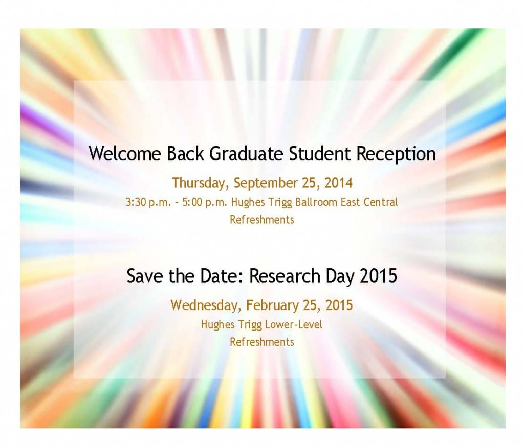Welcome Back Graduate Student Reception flyer[1]