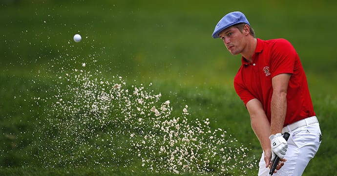 OLYMPIA FIELDS, IL - AUGUST 23: Bryson DeChambeau hits out of the sand trap on the seventh hole during the final match of the U.S. Amateur Championship at Olympia Fields Country Club August 23, 2015 in Olympia Fields, Illinois. (Photo by Jeff Haynes/Getty Images)