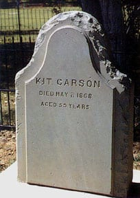 Kit Carson tombstone in Kit Carson Park Memorial Cemetery, Taos, New Mexico